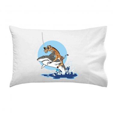 """Pirate Giraffe"" Riding Shark Jumping From Water - Single Pillow Case"