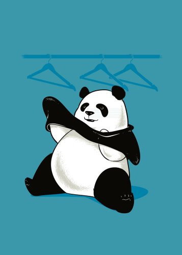 """Outfit"" Funny Panda Trying Putting On Clothes - Rectangle Refrigerator Magnet"