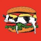 """Still Yum Yum"" Funny Cow Stuck in Hamburger Bun Cartoon - Vinyl Sticker"