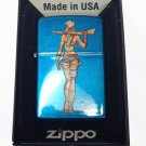 Zippo Custom Lighter - Sexy Zombie Hunter Babe Chick w/ Gun Cerulean Blue