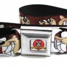 Looney Toons Seatbelt Belt - Tasmanian Devil Expressions Brown