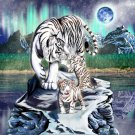 Big Cat White Tiger w/ Cubs in Mountains - Vinyl Print Poster