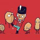 """Nut Cracker"" Red Soldier Doll Kicking Walnuts & Peanuts - Vinyl Print Poster"