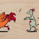 """""""Zombie Attack"""" Rooster Chased by Chickens - Plywood Wood Print Poster Wall Art"""