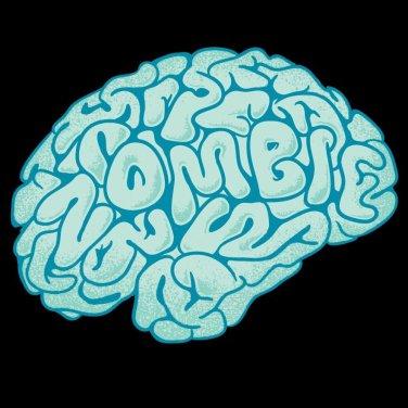 """Zombie Need Brain"" Funny Brain Cartoon Hungry for Brains - Vinyl Sticker"