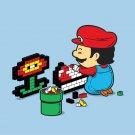 """Power Up"" Classic Video Game Italian Plumber w/ Flower Parody - Vinyl Sticker"