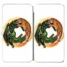 Tiger Dragon Chinese Yin Yang Symbol Design - Womens Taiga Hinge Wallet Clutch