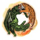 Tiger Dragon Chinese Yin Yang Design Artwork - Rectangle Refrigerator Magnet