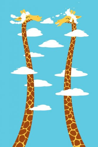 """Cloudy Day"" Funny Cute Cartoon Giraffes Head in Clouds - Vinyl Print Poster"