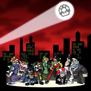All Heroes & Villains Video Game & Bat Super Hero Parody - Vinyl Print Poster