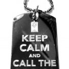 Military Dog Tag Metal Chain Necklace - Keep Calm and Call The Doctor Tardis Box