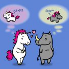 UniRhino Funny Horse & Rhino Unicorn Fantasy Humor Cartoon - Vinyl Print Poster