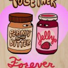 PBJ Forever Peanut Butter & Jelly in Love - Plywood Wood Print Poster Wall Art