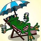 Chillin Froggy Funny Tree Frog w/ Phone & Drink - Rectangle Refrigerator Magnet