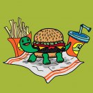 Turtle Burger Funny Shell Bun Burger w/ Fries Meal - Vinyl Print Poster