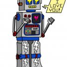 80's Love Robot Funny Cute Vintage Robot w/ Feelings - Vinyl Print Poster