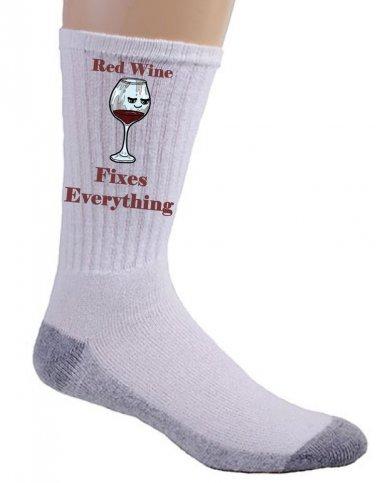 Red Wine Fixes Everything Food Humor Cartoon - Crew Socks Pair