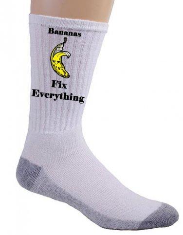 Bananas Fix Everything Food Humor Cartoon - Crew Socks Pair