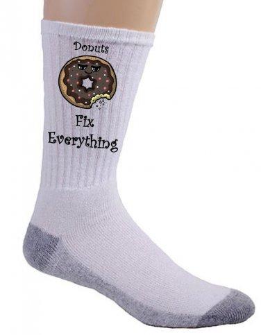 Donuts Fix Everything Food Humor Cartoon - Crew Socks Pair