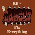 Ribs Fix Everything Food Humor Cartoon - Plywood Wood Print Poster Wall Art
