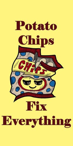 Potato Chips Fix Everything Food Humor - Plywood Wood Print Poster Wall Art