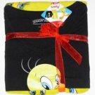 "Looney Toons Seatbelt Belt - Tweety Bird ""Cute And Sweet"" Text on Black Repeatin"
