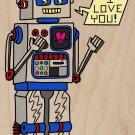 80's Love Robot Funny Feeling Vintage Robot - Plywood Wood Print Poster Wall Art