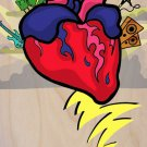Rock N Roll Heart w/ Guitar & Drums Cartoon - Plywood Wood Print Poster Wall Art