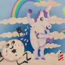 Donut Unicorn Shaving in Clouds Funny Art - Plywood Wood Print Poster Wall Art