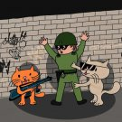 Bad Cats w/ Cop Funny Cartoon Tagged Wall - Plywood Wood Print Poster Wall Art