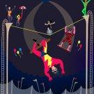 Acrobats at Circus Tent Colorful Artwork - Plywood Wood Print Poster Wall Art