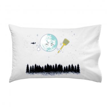 """Disturbing Fly"" Moon w/ Flyswatter Aiming for Jet Airplane - Single Pillow Case"