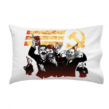 Communist Party Funny Pun Famous Leaders Partying - Single Pillow Case