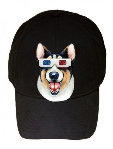 """Corgi 3D"" Funny Puppy Dog Wearing Movie Glasses - Black Adjustable Cap Hat"