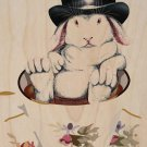 Rabbit Hole Funny Bunny w/ Teacup & Top Hat - Plywood Wood Print Poster Wall Art