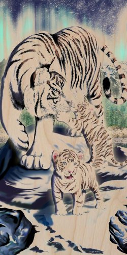 Big Cat White Tiger w/ Cubs in Mountains - Plywood Wood Print Poster Wall Art