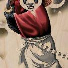 """Panda Warrior"" Bear Ninja w/ Sword & Hat - Plywood Wood Print Poster Wall Art"