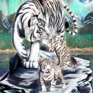 Big Cat White Tiger w/ Cubs in Mountains - Rectangle Refrigerator Magnet
