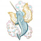 Flying Sea Aquatic Whale Narwhal w/ Wings in Clouds - Vinyl Sticker