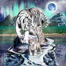 Big Cat White Tiger w/ Cubs in Mountains - Vinyl Sticker