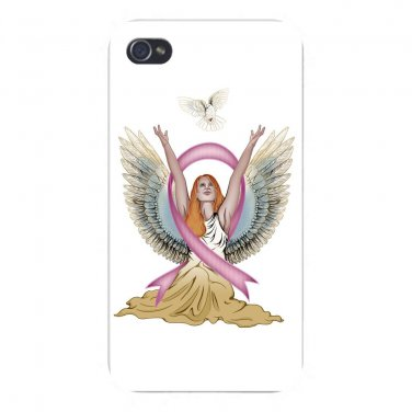 Angel & Dove Breast Cancer Awareness - FITS iPhone 4 4s Plastic Snap On Case