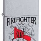 Zippo Custom Lighter - Firefighter Job w/ Hard Hat Logo Satin Chrome