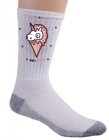 """Unicone"" Mythical Unicorn Ice Cream Cone Funny Food Humor - Crew Socks Pair"