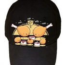 """Chicken Farm"" Fried Legs & Nuggets w/ Sauce Funny - Black Adjustable Cap Hat"