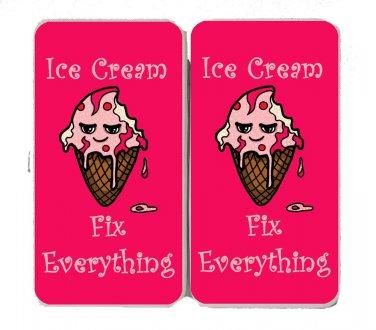 Ice Cream Fixes Everything Food Humor Cartoon - Womens Taiga Hinge Wallet Clutch