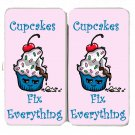 Cupcakes Fix Everything Food Humor Cartoon - Womens Taiga Hinge Wallet Clutch