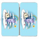 Donut Unicorn Shaving in Clouds Funny Cartoon - Womens Taiga Hinge Wallet Clutch