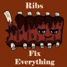 Ribs Fix Everything Food Humor Cartoon - Rectangle Refrigerator Magnet