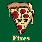 Pizza Fixes Everything Food Humor Cartoon - Rectangle Refrigerator Magnet