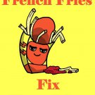 French Fries Fix Everything Food Humor Cartoon - Rectangle Refrigerator Magnet